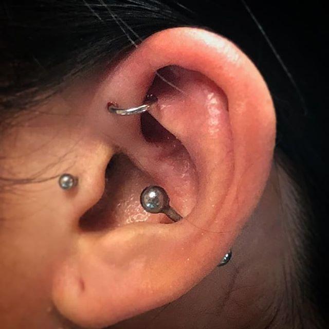 Piercing alla conca dell'orecchio perfettamente guarito e cambio gioielleria per la parte davanti dell'elice, eseguito da Zavo. -