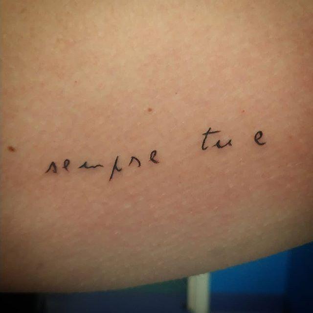 Tatuaggio appena eseguito da Antonio Blez. Scritta ripresa da una lettera degli anni '70 fatta dalla nonna della cliente! -