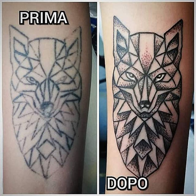 Restauro di un vecchio tatuaggio (non suo) appena effettuato da Fede. -
